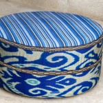 Blue Ikat and Bekasam Ottoman
