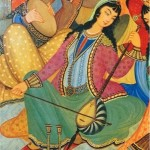 Kamancheh Player, painting from Hasht Behesht Palace, Isfahan, 1669