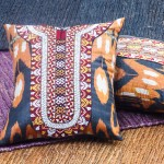 Ikat and Turkmen Embroidered Cushions
