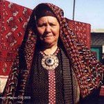 Tekke woman wearing a traditional chyrpy